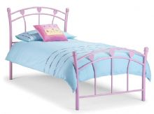 Hearts Pink Single Bed